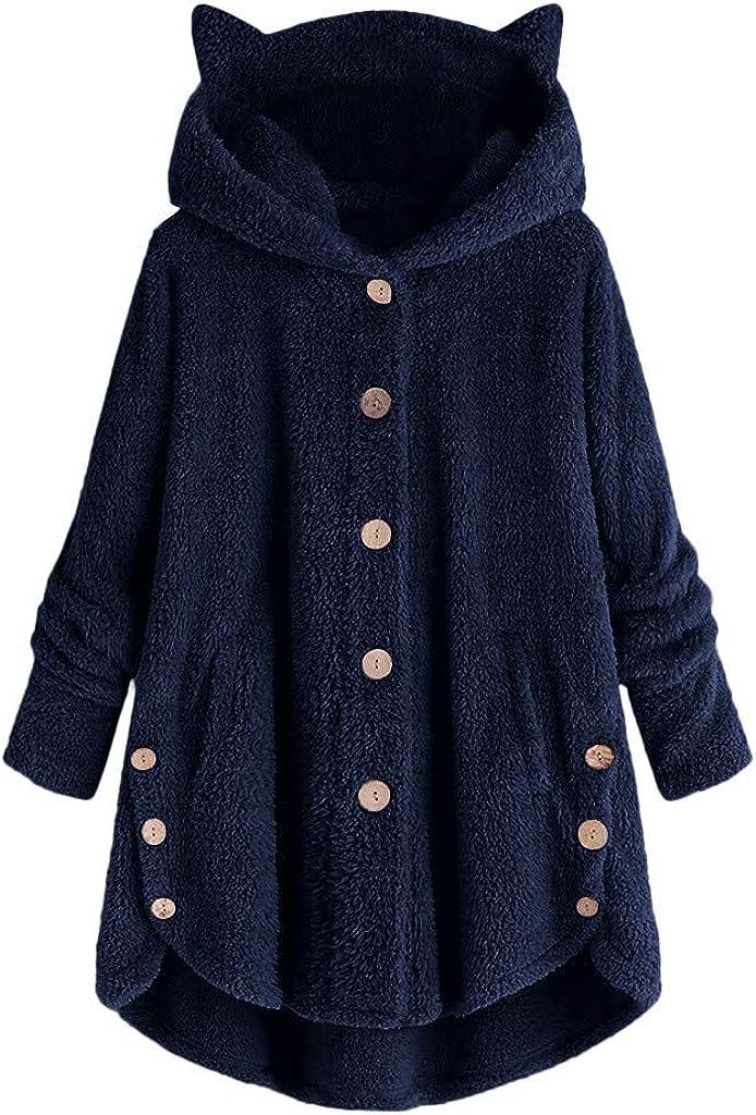 POTO Women Fuzzy Fleece Open Front Cardigan with Pockets Cute Cat Ear Hooded Jacket with Pockets Oversize Coat Outwear