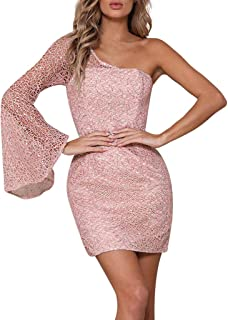 Beikoard Damen One-Shoulder Sexy Spitze Cocktailkleider Party Pencil Kurzes Midikleid Rosa Elegant Abend Kleider Ballkleid Bodycon-Kleid