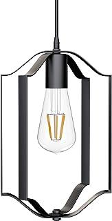 Klighten Lámpara Colgante Vintage Industrial E27, Luz Colgante Plegable de Hierro Negro, Iluminación Colgante Ajustable para Salón, Comedor, Cocina, Ø20cm x H31cm, Bombilla no Incluida