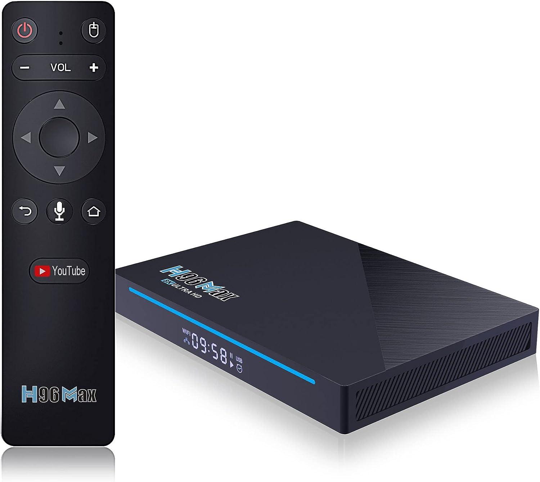 GEQWE Android 11.0 TV Box,2021 Newest Set Top Box H96 MAX RK3566 Quad Core 8GB RAM 64GB ROM Streaming Media Players with 2.4G/5.8GHZ WiFi with AC & BT 4.0 8K HD Smart TV Box,4gb+32gb