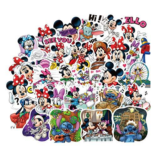 WUWEI Mickey Mouse Pegatina Maleta Maleta portátil Guitarra monopatín teléfono Dibujos Animados Lindo Pegatina 80 Uds