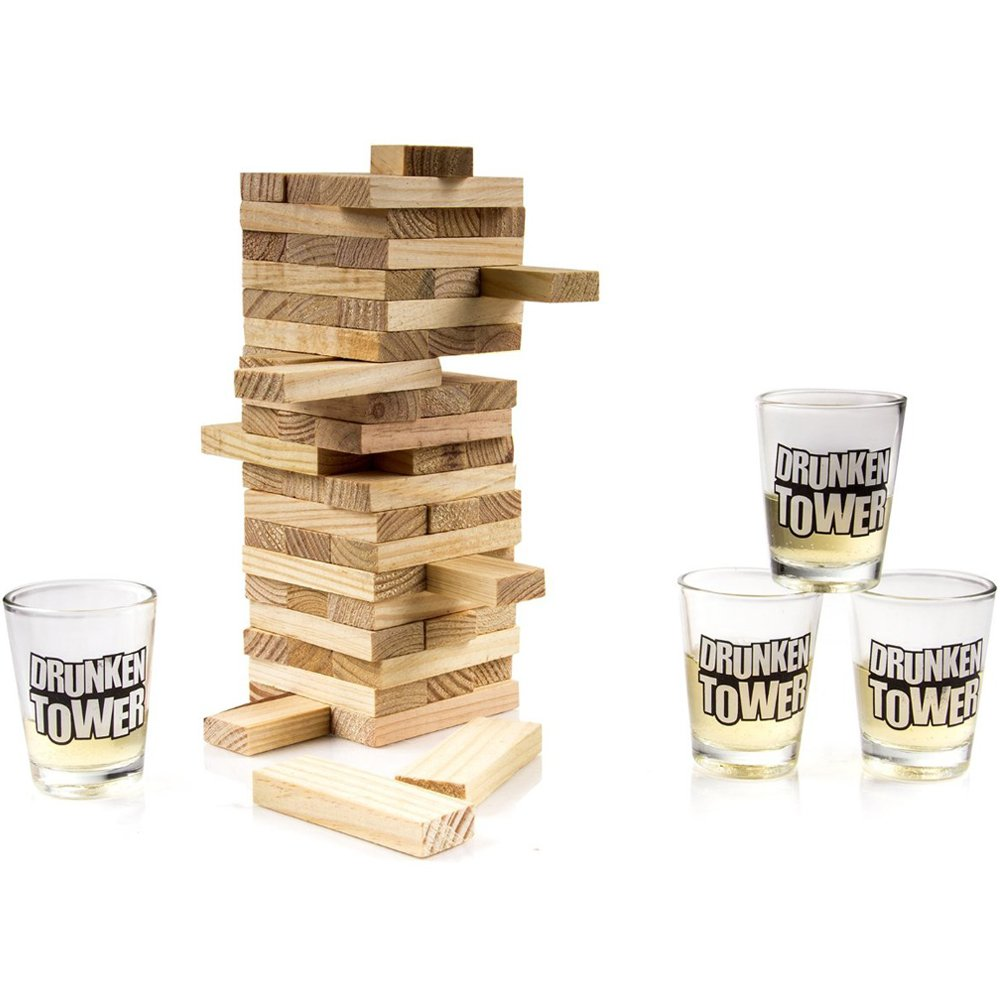 Jieweixin® Wooden Jenga Tipsy Drunken Tower Adult Party Drinking Game with 4x Shot Glasses: Amazon.es: Hogar