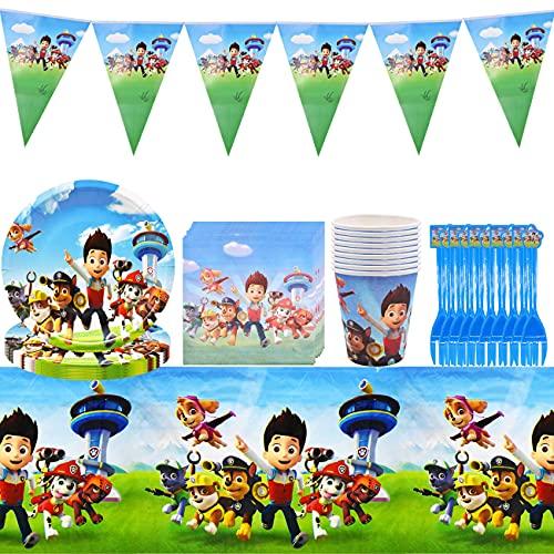 Set di Accessori per Feste da 52 Pezzi, Decorazioni di Compleanno, Piatti, Tazze, tovaglioli, tovaglie, cannucce, forchette, gagliardetti, per Feste e Feste di Compleanno