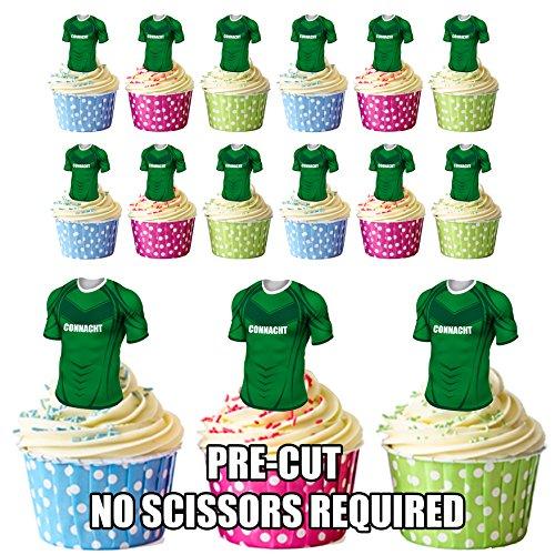 vorgeschnittenen Connacht Rugby Shirts Essbare Cupcake Topper/Kuchen Dekorationen (12Stück)