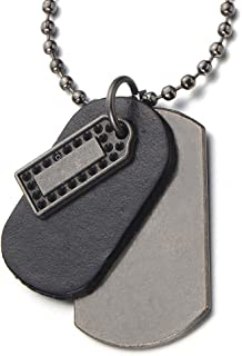 Punk Rock Metal and Leather Dog Tag Pendant Necklace for Men with 26 Inches Ball Chain