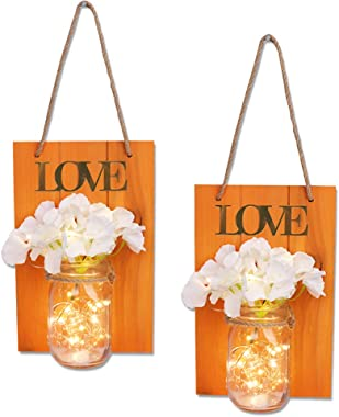 JUNNUO Set of 2 Mason Jars Sconce Rustic Home Decor Wall Wood Art Sconces Artificial Hydrangea Flowers LED Fairy Lights for C