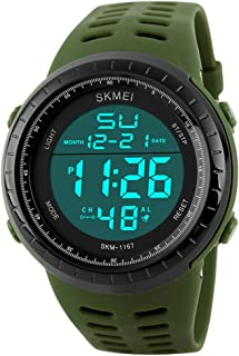 PASOY Men's Military Swiming Watch Brwon Rubber Band Stopwatch Waterproof Women's Sport Digital Watches