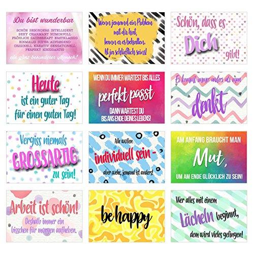 Set Postkarten mit Sprüchen - Karten mit Spruch - Geschenkidee - Dekoidee - Liebe, Freundschaft, Leben, Motivation, lustig – Postcrossing - Geburtstagskarten (Set 1, 12 Karten)