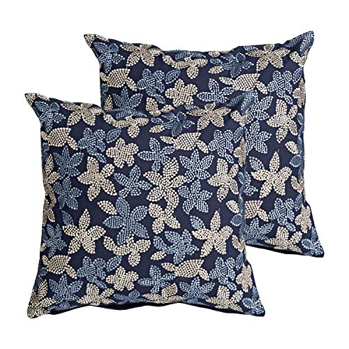 MOTINI - Juego de Fundas de Almohada cuadradas Decorativas, diseño Floral Bordado, 100% algodón, Fundas de Almohada acogedoras – Paquete de 2 – 18 x 18 Pulgadas