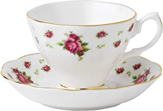 Royal Albert New Country Roses Teacup and Saucer, Mostly White with Multicolored Floral Print