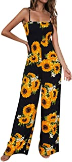 Women's Sunflower Printed Jumpsuits Solid Rompers Casual Comfy Jumpsuit