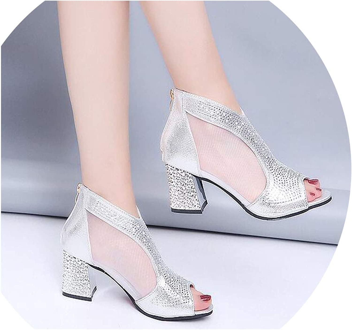 Boom-moon Sandals Bling 7cm High Heels Square Heel Women shoes Wedding shoes