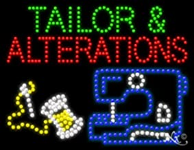 20x26x1 inches Tailor & Alterations Animated Flashing LED Window Sign