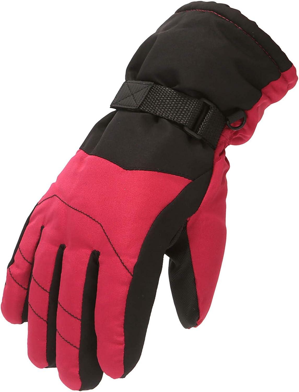 Mingyun Kids Winter Snow Ski Gloves Children Snowboard Waterproof Gloves for Boys Girls Cold Weather Bike Gloves (6-11 Years,4 - Red)