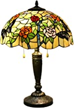 24 Inches Tall Tiffany Style Lamps Butterfly Floral Table Desk Light Stained Glass 16 Inches Wide Lamp Shade Vintage Unique Victorian Lamp for Living Bedside Coffee Room College Dorm