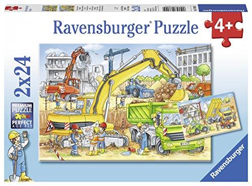 Ravensburger Kinderpuzzle 07800 - Viel zu tun auf der Baustelle - 2 x 24 Teile