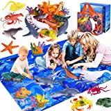GINMIC Kids Ocean Animals Toys with Large Play Mat , 18 Pack Assorted Realistic Sea Animal Toys with Carrier Bag Including Shark, Whale, Dolphin etc, for Toddler, Boys & Girls Ages 3-8