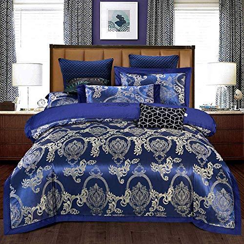 Duvet Cover Sets,Silk Cotton Satin Jacquard Bedding Set Bedclothes Bed Sheet Pillow Cases for Double King