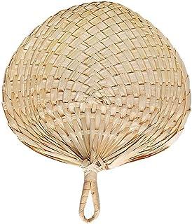 Forart Abanico de palma de fan de bastón natural hecho a mano exquisito, fanáticos de bast de mano, ventiladores de favor de boda para bodas, campamentos, decoración del hogar