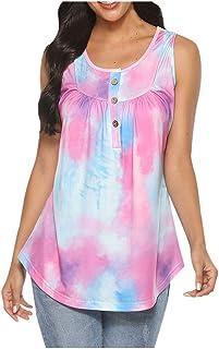 Simayixx Women's Casual Sleeveless Tops Button Down O Neck Loose Flowy Tank Tops Tie-dye Print Shirts Blouses