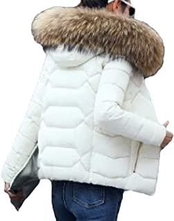 Womens Short Down Coat Long Sleeve with Fur Hood Slim Fit Thickened Warm Jacket Overcoat