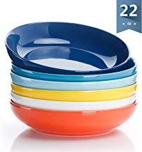 Sweese 112.002 Porcelain Salad Pasta Bowls - 22 Ounce - Set of 6, Hot Assorted Colors