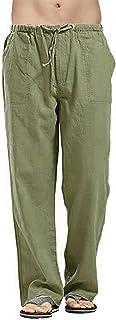 VANVENE Men's Linen Trousers Lightweight Loose Solid Color Simple Casual Yoga Pants