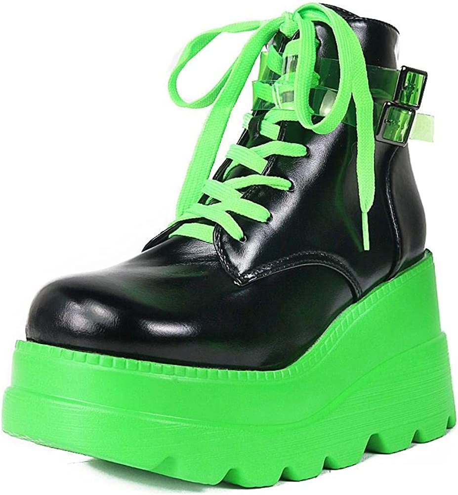 Mikarka Holographic Platform Boots for Women, Lace Up Ankle Studded Buckle Goth Stacked Wedge Combat Ankle Boots