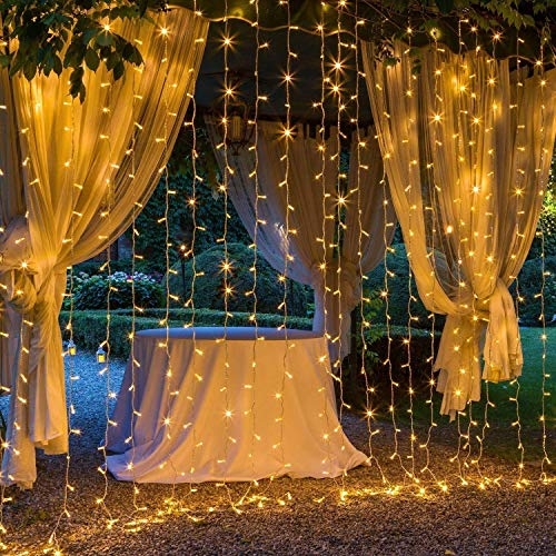 306 LED Curtain Lights Mains Powered,OxyLED 3m x 3m Curtain Fairy Lights,8 Modes Warm White Bedroom Fairy String Lights,Outdoor/Indoor Decorative String Lights For Garden,Bedroom,Gazebo,Valentines Day