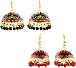 Yellow Chimes Multicolour Gold Plated Handcrafted Meenakari Craftsmanship Traditional Jhumka/Jhumki Earrings for Women and...