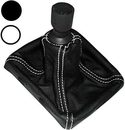 AERZETIX: Funda para palanca de cambios 100% Piel Genuina negro Costuras de color blanco
