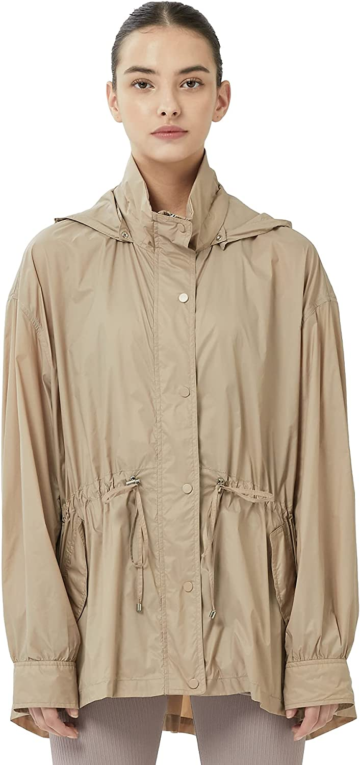 OFF THE DOOR Womens Lightweight Softshell Windbreaker with Detachable Hood and waist string