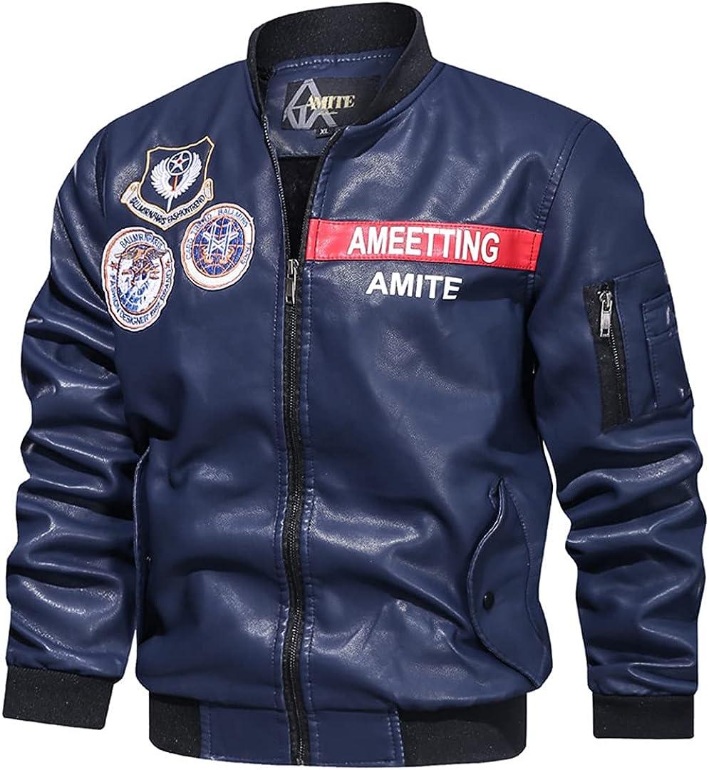 Mens Leather Jacket Large Size Stand-Up Collar Casual Baseball Uniform Motorcycle PU Leather Jacket