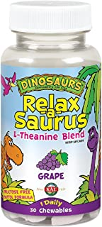 KAL® Relax-a-Saurus | Stress Support for Kids | L-Theanine Relaxation Blend for Children | Grape Flavor Chewables | 30 Ser...