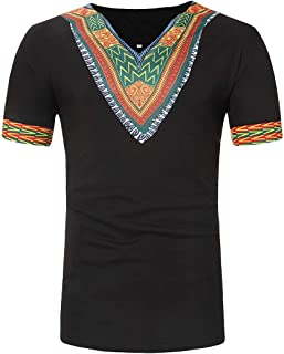 OLUOLIN Men's African Summer Print T Shirts-Short Sleeve Casual Dashiki Tees