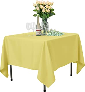 VEEYOO Square Tablecloth 100% Polyester Table Cloth for Indoor and Outdoor Table – Solid Dinner Tablecloth for Wedding Party Restaurant Coffee Shop (Yellow, 70x70 inch)