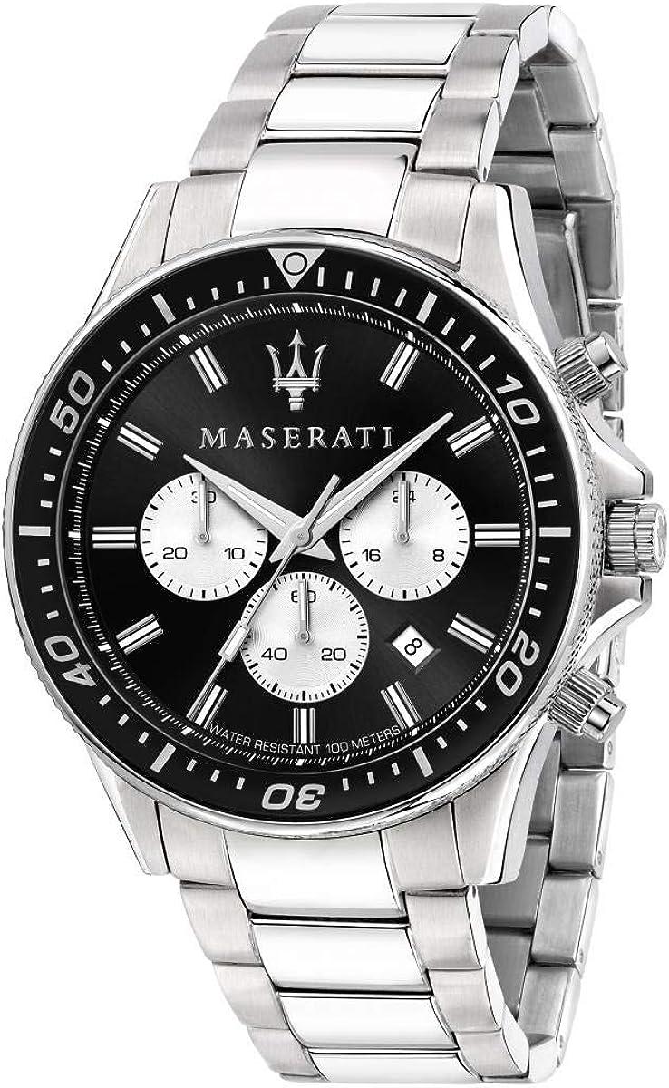 Maserati Reloj para Hombre, Colección Sfida, en Acero Inoxidable, con Correa de Acero Inoxidable - R8873640004