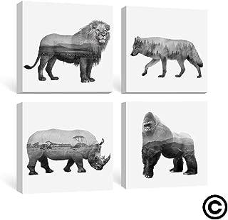 Gronda Black and White Animal Wall Art Prints Contemporary Framed Canvas Artwork Lion Wolf Rhinoceros Orangutans Nursery Prints for Bedroom Living Room 12x12 Inch,4 Panels