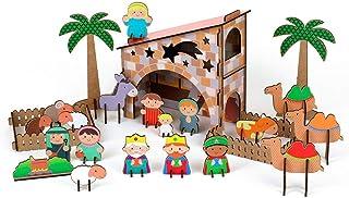 La Lluna Belen Infantil de Madera Peace. Juego construcción y Manualidades del Belén con Adhesivos. Contiene 73 Piezas.