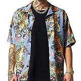 Cárdigan para Hombre Camisa Europea y Americana Street Animal Tiger Print Fashion Slim Camisa de Manga Corta de Gran tamaño Small