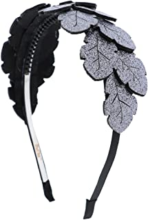 Sparkly Hair Band Tinsel Leaves Wreath Holiday Headband (Silver)
