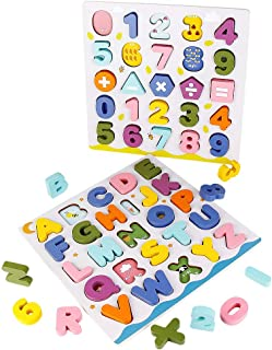 comprar comparacion jerryvon Juguetes Montessori Puzzles de Madera Juguete Puzzle Numeros y Letras Abecedario Rompecabezas Infantil ABC Puzzle...