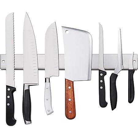 AidSci Amélioré 50cm Porte-Couteaux Magnétique, Barre à Couteaux Aimantée en Acier Inoxydable - Mural Support Aiguiseur de Couteaux et Protège Doigts Kit pour Support Ustensiles de Cuisine et Outils