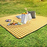 SKYSPER - Manta de pícnic grande, con parte posterior impermeable, para exteriores, plegable, para camping, ligera, compacta, con bolsa de transporte y mantel