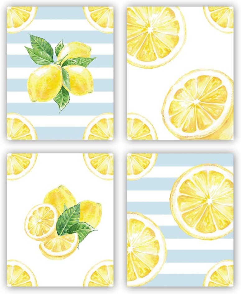 Amazon Com Hpniub Lemon Wall Art Prints Set Of 4 8 X10 Summer Decor Fruit Canvas Posters Watercolor Yellow Pictures For Kitchen Living Room Office No Frame
