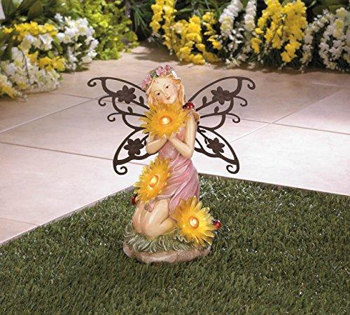 Solar Garden Statues Fairy Concrete Resin Sculptures Outdoor Disney Angel Decor Patio Lawn Yard Ornament