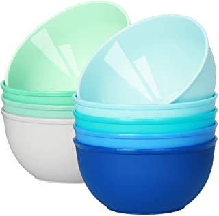 Youngever 9 Pack 10 Ounce Plastic Bowls, Kids Plastic Bowls, Set of 9 (9 Coastal Colors)