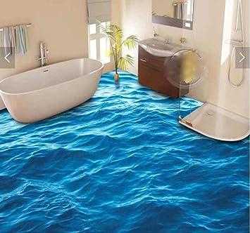 3d Blue Water Waves 3d Bathroom Flooring Photo 3d Wall Murals Wallpaper Custom Waterproof 3d Pvc Self Adhesive Flooring Stickers 250x175cm Amazon Com