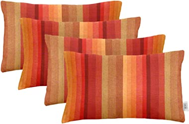 """RSH Décor Set of 4 Indoor Outdoor Decorative Rectangle Lumbar Throw Pillows Sunbrella Astoria Sunset (20"""" x 12"""")"""