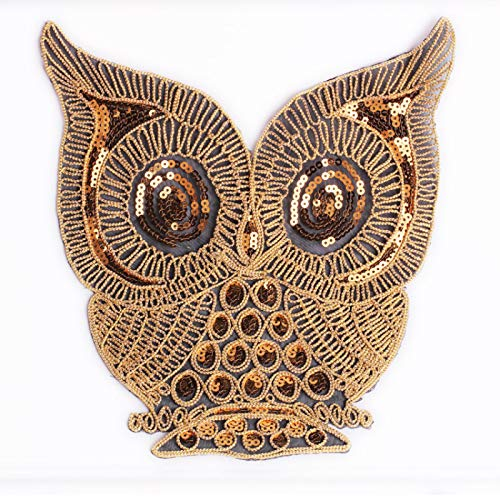 Iron on Patches/Sewing Patch,Patches for Clothes,Embroidery Applique, Gold Sequined owl 1pcs